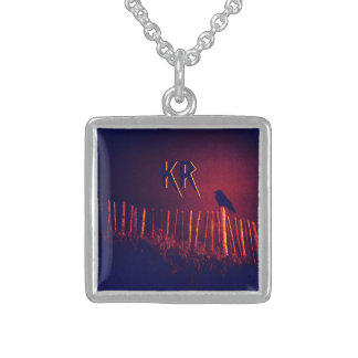 Goth Quoth The Raven Under Midnight Sky, Monogram Sterling Silver Necklace