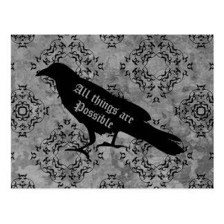 Goth raven positive affirmation postcard
