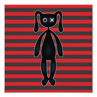 Goth Red and Black Bunny Photo Art