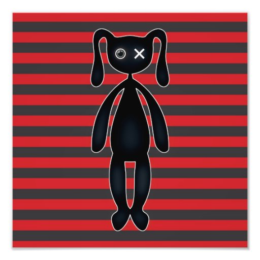 Goth Red and Black Bunny Photograph