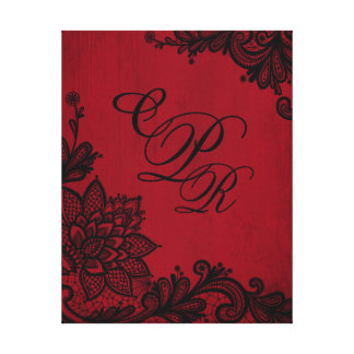 Goth Red Grunge Black Lace Wedding Monogram Canvas Print