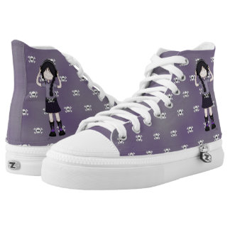 Goth Rock Girl and Skulls Whimsical Cartoon High Tops