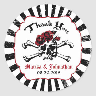 Goth Rose Skull Grunge Pirate Wedding Label