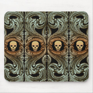 Goth Sage Green Ornament With Skull Mouse Pad