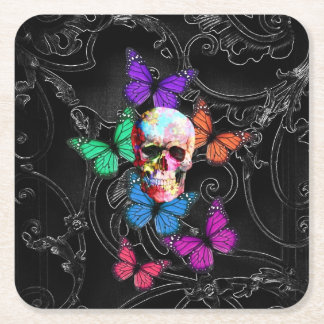 Goth skull and butterflies square paper coaster