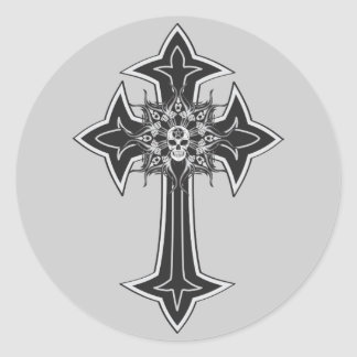Goth Skull Cross Round Sticker
