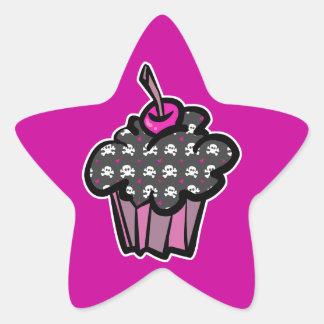 goth skull crossbones cupcake star sticker