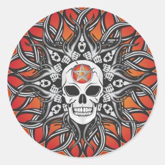Goth Skull - Orange Round Sticker