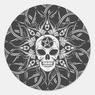 Goth Skull Round Sticker