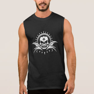 Goth Skull with Bat Wings and Pentagram Sleeveless T-shirts