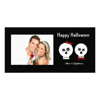 Goth Skulls Halloween Photo Cards