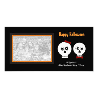 Goth Skulls Halloween Photo Cards