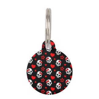 Goth Skulls & Hearts Pet ID Tag