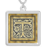 Goth Style Initial T Silver Necklace