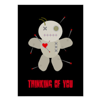 Goth Voodoo Doll Halloween Cartoon Poster