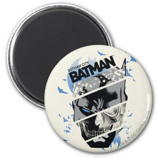 Gotham City Batman Skull Collage 6 Cm Round Magnet