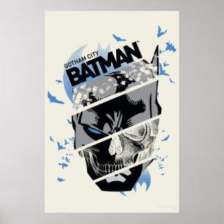 Gotham City Batman Skull Collage Print