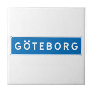 Gothenburg, Swedish road sign Small Square Tile