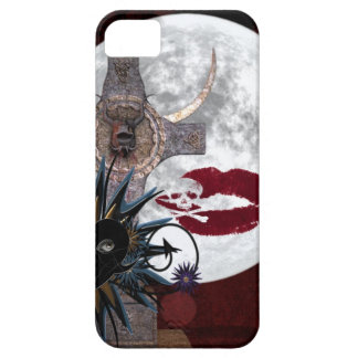 Gothic Alter Full Moon skull crossbones black red iPhone 5 Case