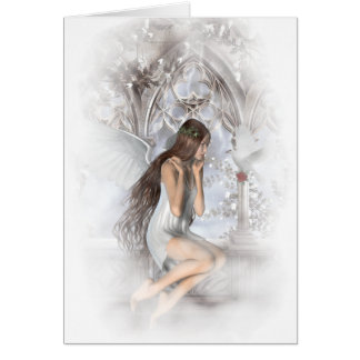 Gothic Angel and Her Dove Vignette Card