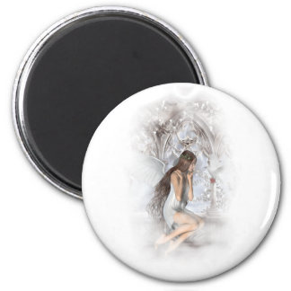 Gothic Angel and Her Dove Vignette 6 Cm Round Magnet