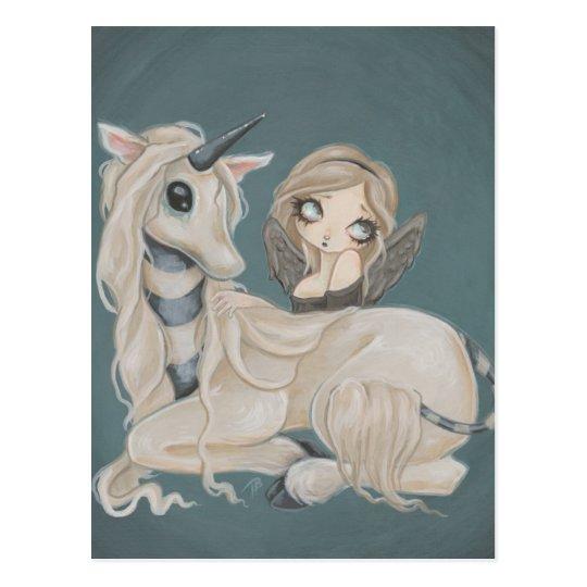 Gothic angel fairy with unicorn postcard
