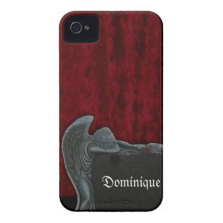 Gothic Angel on Red Velvet Pattern iPhone 4 Case