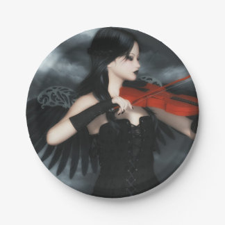 Gothic Angel Playing The Violin Paper Plate