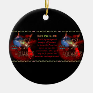 Gothic Aquarius Zodiac astrology by Valxart.com Round Ceramic Decoration