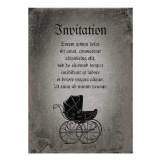Gothic Baby Carriage Custom Invitations
