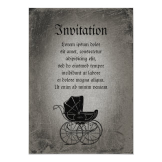Gothic Baby Carriage 13 Cm X 18 Cm Invitation Card