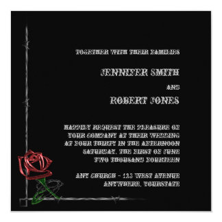 "Gothic Barbed Wire and Rose Elegant Wedding 5.25"" Square Invitation Card"