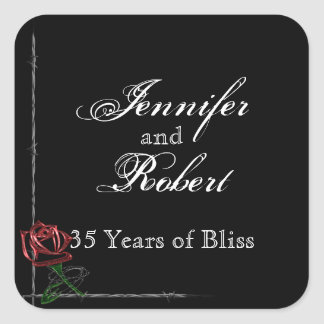 Gothic Barbed Wire and Rose Frame Envelope Seal Square Sticker