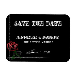 Gothic Barbed Wire and Rose Save the Date Rectangular Photo Magnet