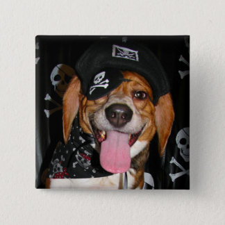 Gothic Beagle Pirate dog Button