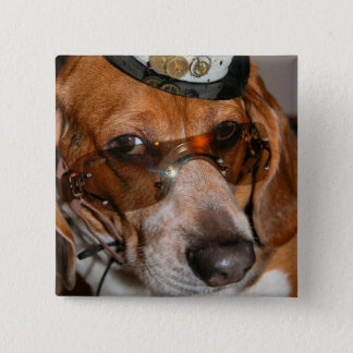 Gothic Beagle Steampunk dog Button