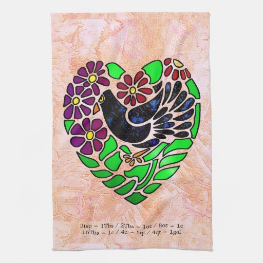 Gothic Bird in Heart Hand Towel