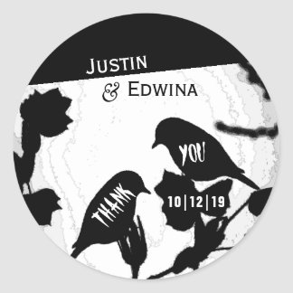 Gothic Bird Silhouettes Wedding Thank You Stickers