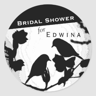 Gothic Birds Silhouettes Bridal Shower Stickers