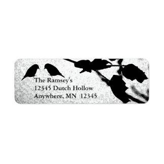 Gothic Birds Wedding Address Return Labels
