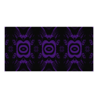 Gothic Black and Purple Floral Pattern Custom Photo Card