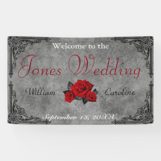 Gothic Black and White Rose Wedding Banner