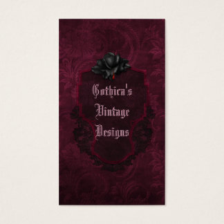 Gothic Black Burgundy Damask Blood Rose Business Card