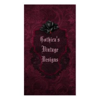 Gothic Black Burgundy Damask Blood Rose Pack Of Standard Business Cards