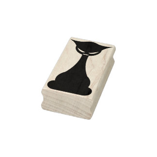 Gothic black cat silhouette art stamp