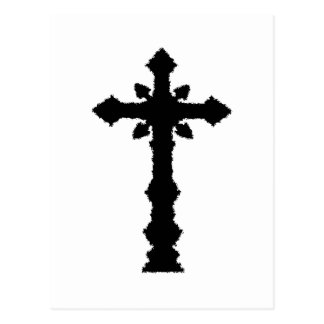 Gothic black cemetery cross post card