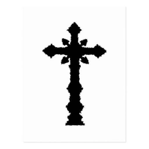 Gothic black cemetery cross post card