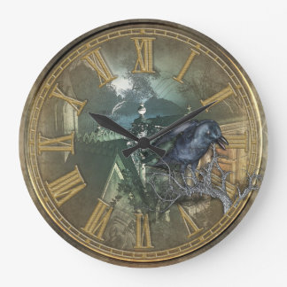 Gothic Black Crow Wall Clocks