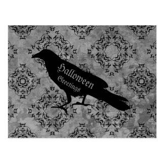 Gothic black crow raven on gray Halloween greeting Postcard
