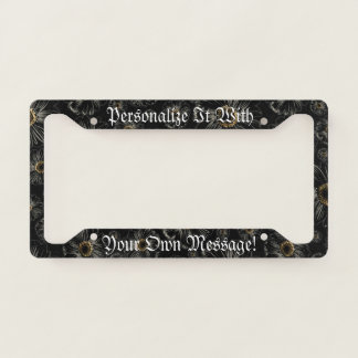 Gothic Black Daisies Personalised Licence Plate Frame